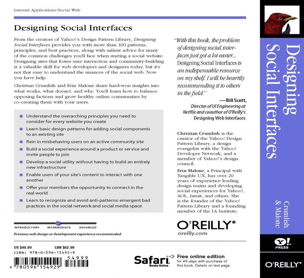 Designing Social Interfaces - Back cover